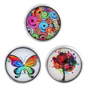 Morella® Click-Button Lot de 3boutons pression pour bijoux pour femme Motifs floraux