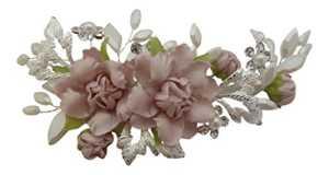 Pick A Gem Mariage Accessoires Cheveux fait à la main Argent Fleur Rose Cristal de Swarovski et perles Fleur Pince à cheveux Pince bec