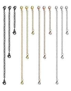 Sailimue 12Pcs Acier Inoxydable Chaînette d'Extension Rallonge de Chaîne avec Fermoir pour Collier Bracelet, 2″ 3″ 6″ noir+or rose