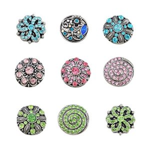 Souarts Mixte Bijoux Femme Strass Bouton à Pression 5.5mm Snaps Lot de 9pcs