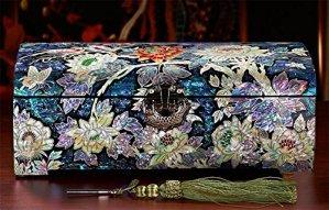 XYLUCKY Boite a bijoux princesse à la main en bois haut – fin coffrets à bijoux avec miroir et rangement tiroirs Collection cadeaux