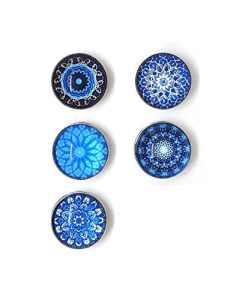 Bijou Bouton à Pression métal – Bijoux interchangeable – motif mandala bleu – 18mm Snaps – Différent coloris – Lot de 5pcs – Mon-bijou-pression