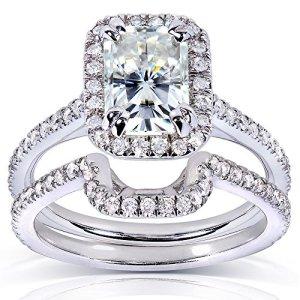 Forever brillant radiant-cut & avec zircons ronds Lot de mariage Diamant en Or 913/5carats (ctw) en or blanc 14K 6,5