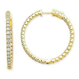 W/Sécurité Boucles d'oreilles diamant jaune ronde Barrette or Hoop 14K