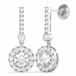 Diamond Studs Forever – Pendants d'oreille en or blanc 14 ct – diamant 2 carats – G-H/I1 – certifié IGI