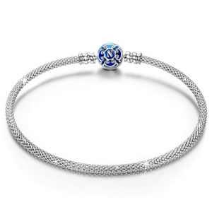 NINAQUEEN Bleu 925 Bracelet en argent sterling charme pour les femmes fit Pandora charmes cadeaux de Noël cadeaux d'anniversaire Saint Valentin fête des mères cadeau d'anniversaire
