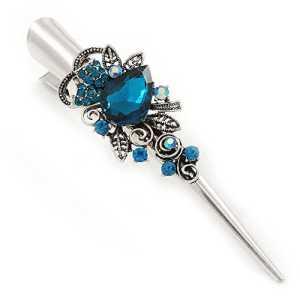 Long Inspiration vintage Argenté Bleu sarcelle Cristal Floral Cheveux Pince bec/Concord/Pince crocodile–13.5cm–L