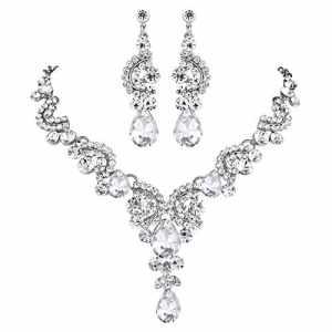 TENYE Cristal Strass Mariage Floral Vague Goutte d'Eau Collier+Boucles d'Oreilles Parures Clair Ton d'argent