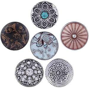 Morella boutons pression Lot de 6Click Button Argent Fleurs Noir