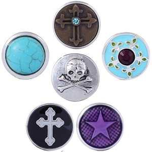 Morella Lot de 6 boutons pression femme Croix multicolores