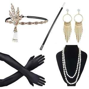 Awtlfe années 1920Ensemble d'accessoires flapper Bandeau Collier Boucles d'oreilles Gants Cigarette support Excellent Accessoires