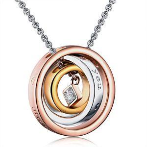 Raydem Collier en Cercle Rosé Trinité Collier, ♥ Je t'aime ♥ Collier Les Cristaux Femmes, Bijoux de Cadeau de Noël, Emballage de Cadeau