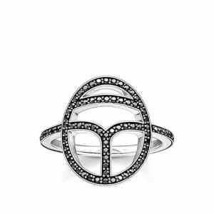Thomas Sabo Femme 925 Argent #Silver Noir Zircon FINERING