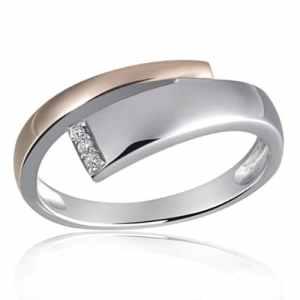 Goldmaid Bague Femme – Argent 925 -Bicolor – Diamant 0,03 ct.- Sd R6118S52