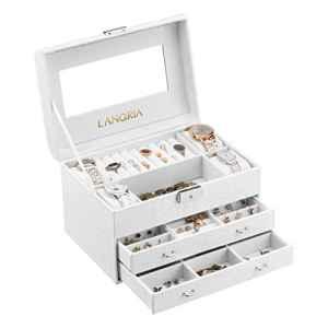 Langria rectangulaire Boîte à bijoux, Crocodile Grain simili cuir Motif et doublure en velours doux Intérieur anti-rayures avec miroir intérieur, verrouillable, organiseur pour maquillage et bijoux