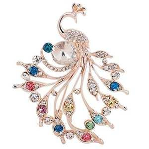 Qifumaer Forme de Paon de Diamant Broche et Pins Femme Bijoux Broche Accessoires de Décoration pour vêtements écharpe Vestes Sac à Dos