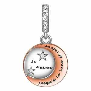 SIMPORDS Charm Pendentif Mère Femme Gravé Médaillon avec Lune et Etoiles Cadeau pour Maman