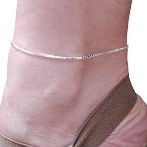 Chaîne de cheville maille serpent argent 925 bracelet de cheville en argent massif maille vénitienne 25 cm