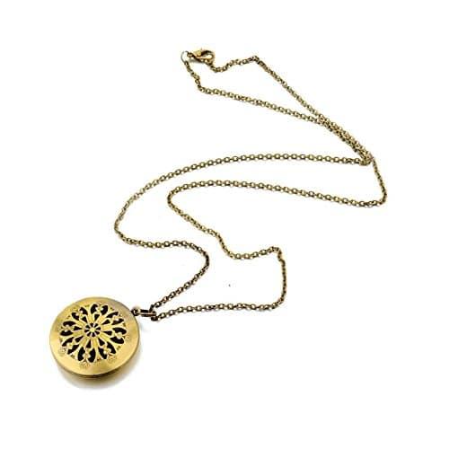 Fabulous Bijoux Collier Diffuseur Huile Essentielle Doré Motif Indien Mandala Bronze