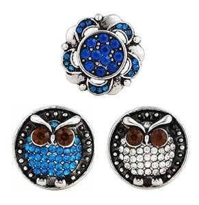 Morella Click-Button Lot de 3 Boutons Pression pour Bijou Femme à Motif Chouettes et Fleurs