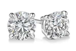14K Or blanc diamant coupe ronde Boucles d'oreille à tige 2.05CT, G-H Couleur, Si3-i1Clarté