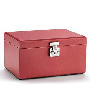 Boîte de rangement de bijoux cosmétique portable pliable avec miroir-red