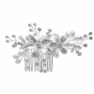 Mondora Bride Peignes Fleur Fait Main DIY pour Femme's Couleur Ivorine Perle Artificielle Cristal Autrichien Ton d'argent Clair