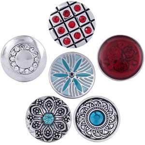 Morella Bouton Set 6pièces boutons pression Fleurs Magique Rouge Turquoise