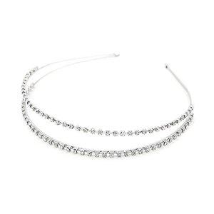 Fensi Bandeau Couvre-chef strass cristal accessoires pour Fête et Décoration Quotidienne Pour Femmes Filles (argent)