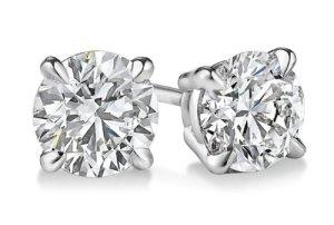 Boucles d'oreilles à tige en or blanc 14 carats avec diamant coupe ronde 1,45 carat, couleur F-G, clarté SI2