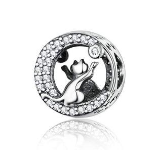 Reiko Danser Chat 925 Argent Bead Charms Bricolage Peut Être Combiné avec des Bracelets Et des Colliers
