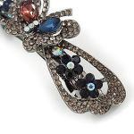 Avalaya Collier Romantique Cristal Papillon et Fleurs Barrette Pince à Cheveux Grip en Finition Grise foncée (dim Gris, Rose, Bleu foncé)–80mm de diamètre
