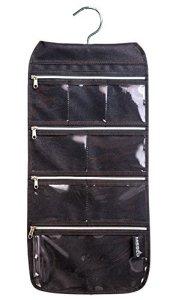Misslo 8 poches zippées de rangement bijoux avec crochet rotatif Noir