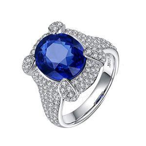 YCGEMS Bijoux Uniques de Femmes Solides en Or Blanc de 18 carats 6.21ct Saphir Naturel Diamant Engagement Promesse Bague De Mariage avec Diamant Épaules,T