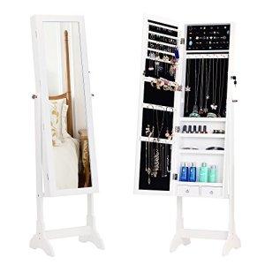 BASTUO verrouillable Armoire à Bijoux sur Pied Armoire à Bijoux de Stockage Organiseur, 2tiroirs avec Miroir Longueur complète, Blanc