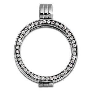 Amello Support pour pièces Coin Keeper 25mm Pendentif Cristal Zircon Bijoux en acier ESC053W