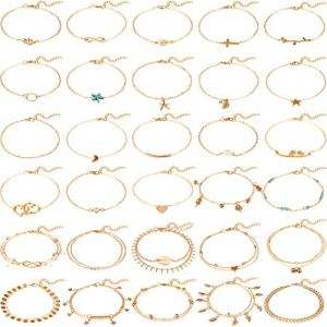 Hicarer 30 Pièces Bracelets de Cheville Femmes Boho Anklets Chaîne Pied Bijoux Réglable Ensemble pour Partie de Plage et Partie de Danse (Or)
