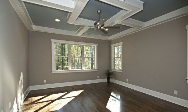 Ceiling Crown Molding with Dark Wood