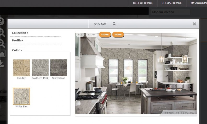 kitchen visualization tool floor mats walmart eldorado stone debuts and brick veneer visualizer on newly redesigned website