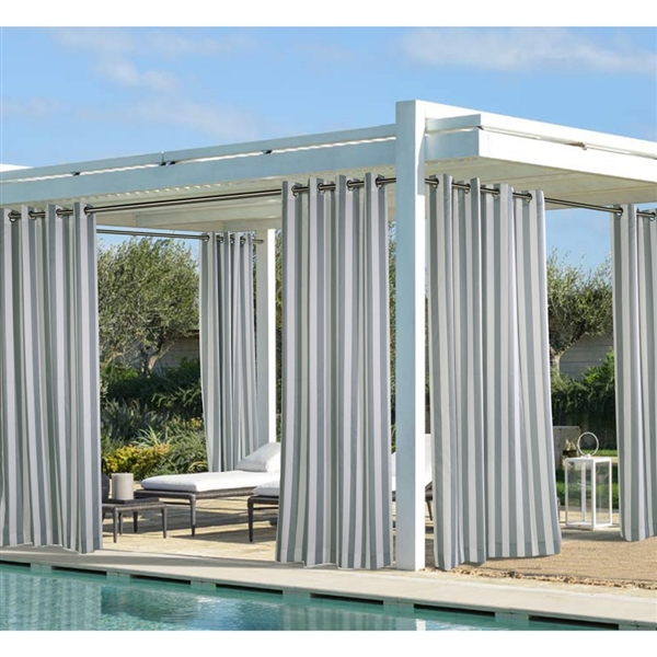 coastal stripe and solid outdoor curtains