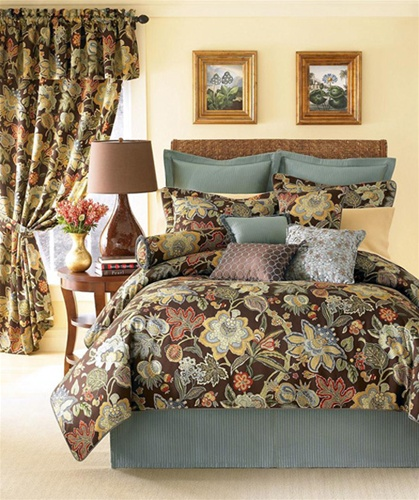 Audubon By Rose Tree Chocolate Brown Jacobean Floral Oversize Comforter Rich Red Gold Soft