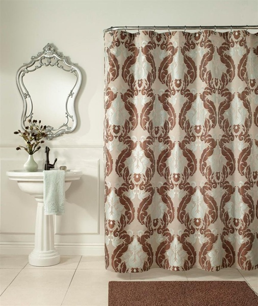 baroque shower curtain formal design luxurious woven jacquard 100 polyester machine washable soft shades of blue cocoa