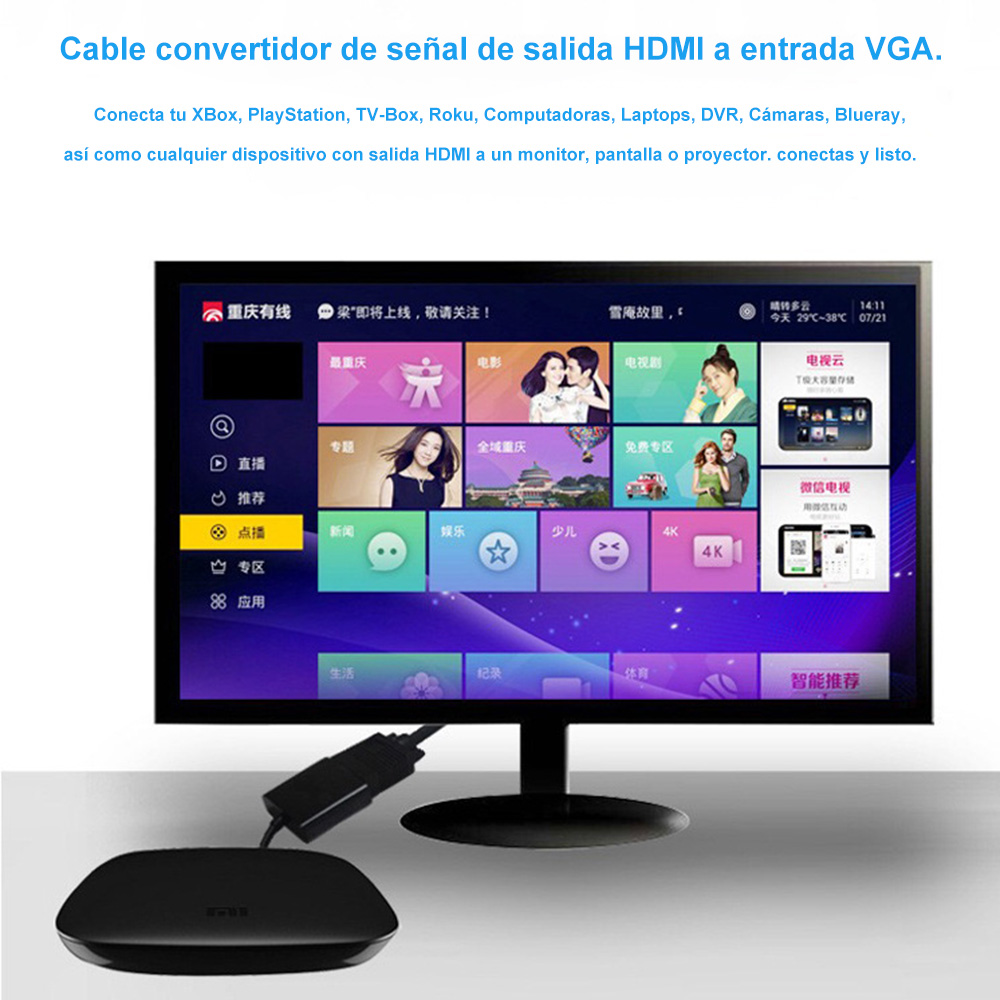 Cable Adaptador Convertidor Hdmi A Vga Aux 3.5 Pc Laptop Tv Monitor
