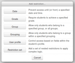 add restriction pop up