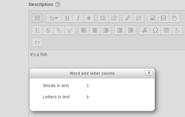 Moodle Atto word count plugin