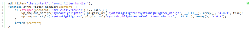 WordPress syntax highlighting filter plugin
