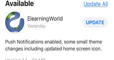 Elearning World App updates