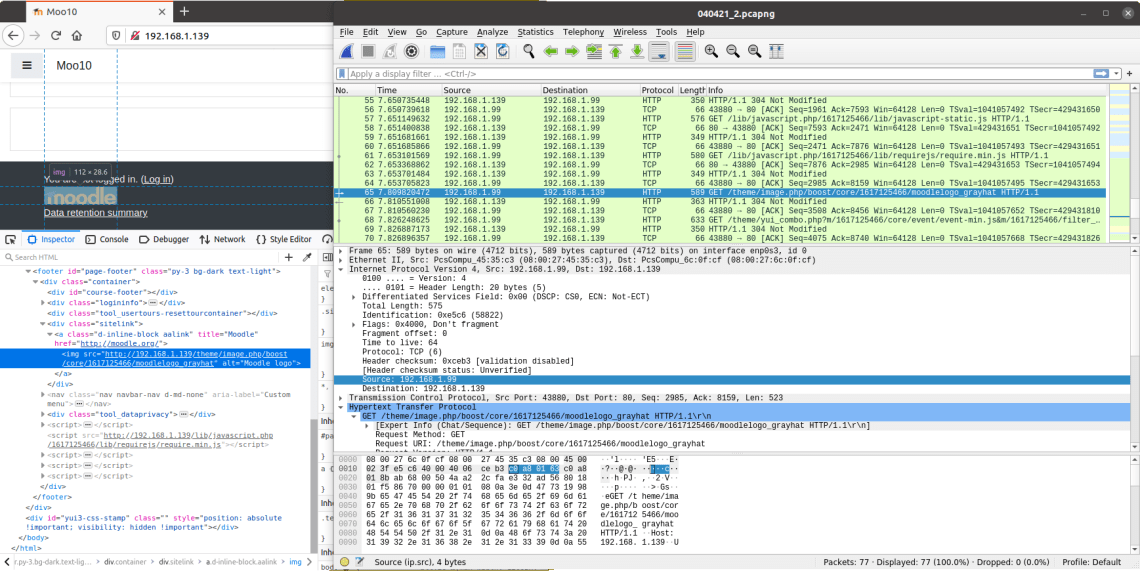 Fetching the Moodle logo over a network, shown by Wireshark.
