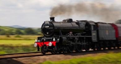 LMS Jubilee Class No 45690 Leander on the Royal Duchy at Powderham, Devon, England 29th August 2021
