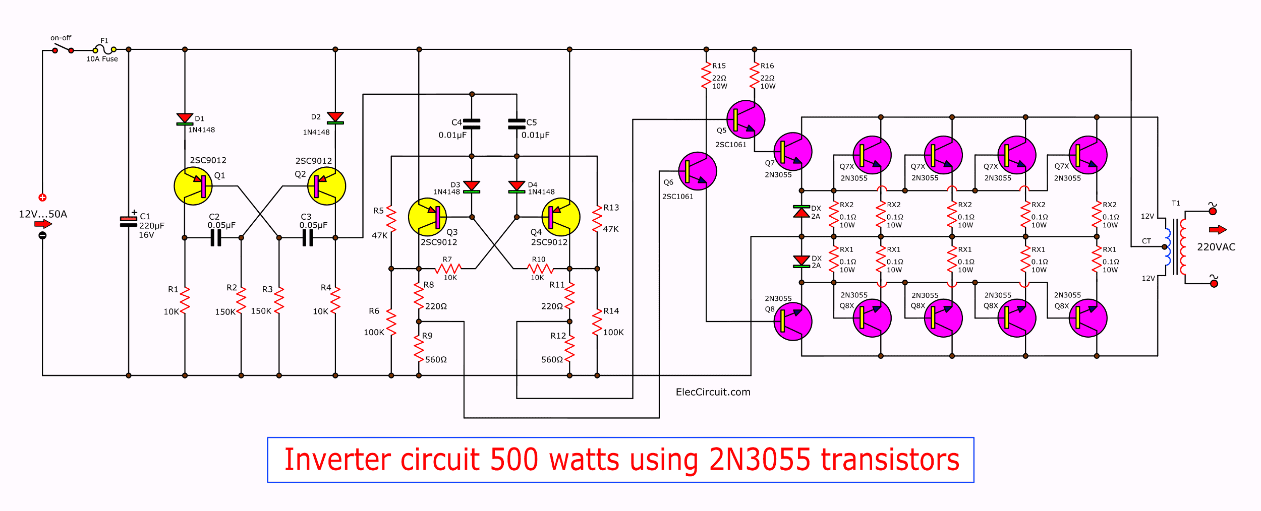 watt inverter circuit diagram on 500 watt power inverter circuit